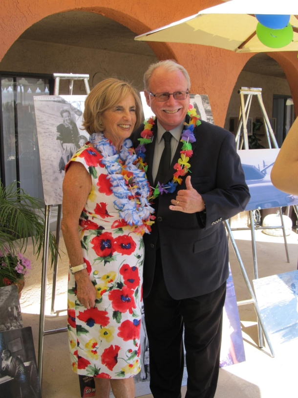 "Kathy ""Gidget"" Kohner-Zuckerman and Ronnie Guyer at the Huntington Terrace fundraiser luau"
