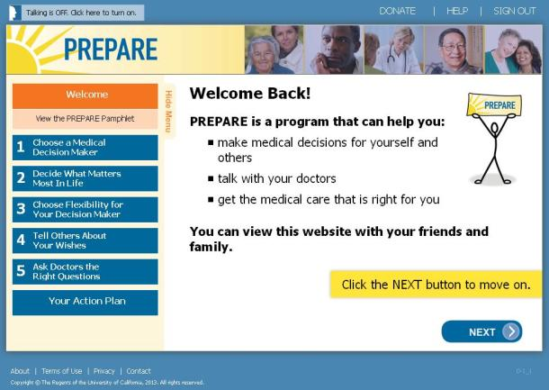 PREPARE for Future Care online tool for advance care planning