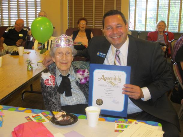 Assemblymember Mansoor at Huntington Terrace 100th birthday celebration