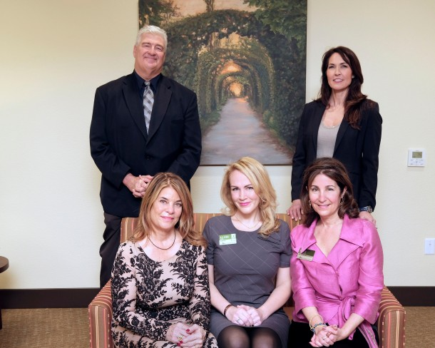 Clockwise, from top right: Susan Schneider Williams, Atria Foster City assistant executive director Karen Malekos Smith, executive director Allison Miller, Carole Middleton, and Michael Pritchard. Image Credit: Tom Jung/San Mateo Daily Journal